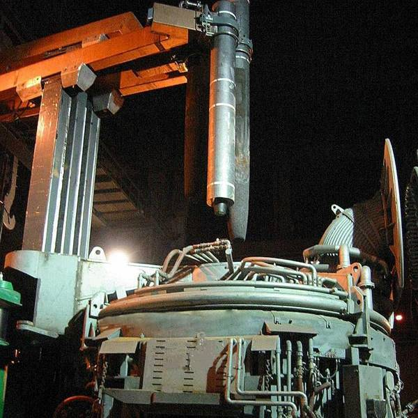 Eccentric bottom tapping arc furnace with RP grade graphite electrodes.